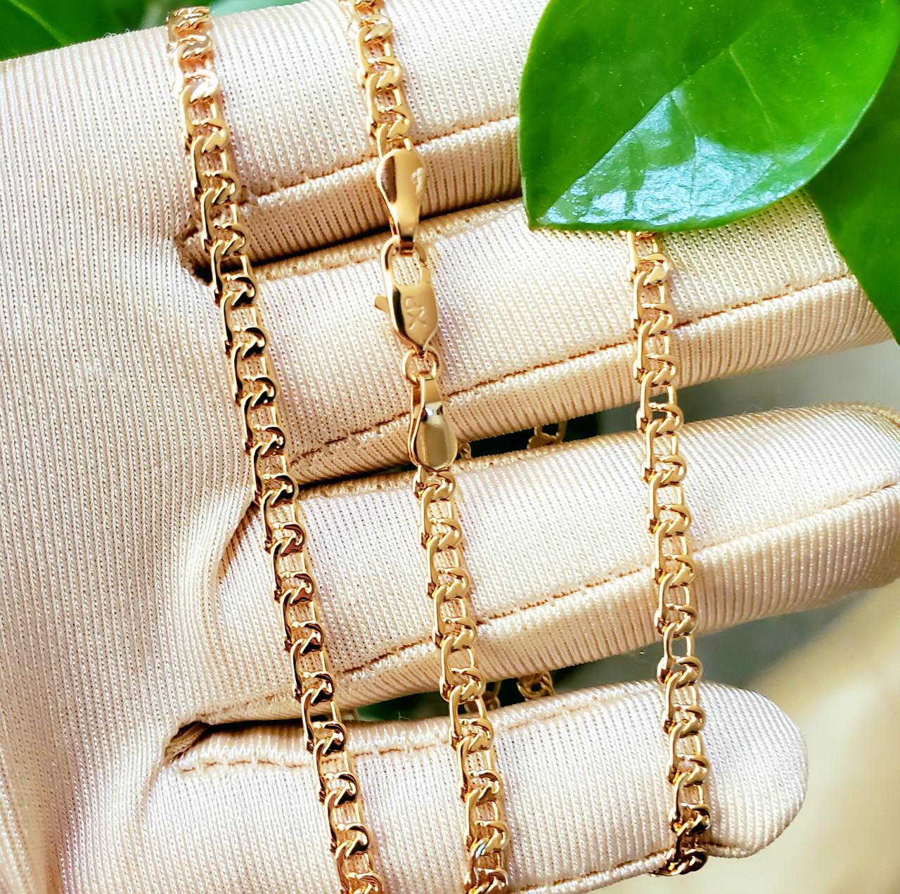 Ланцюжок xuping 3мм 45см медичне золото позолота 18К плетіння Муза ц734