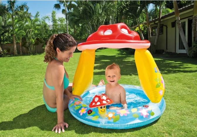 """Дитячий Надувний басейн Intex """"Гриб"""" з навісом 102 х 89 см 45 л від 1 до 3 років"""