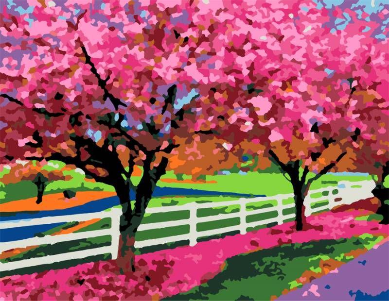 """Картина по номерам Сад """"Цветущие деревья"""""""
