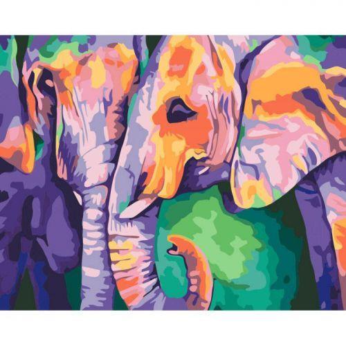 """Картина по номерам Животные Слоны """"Индийские краски"""""""
