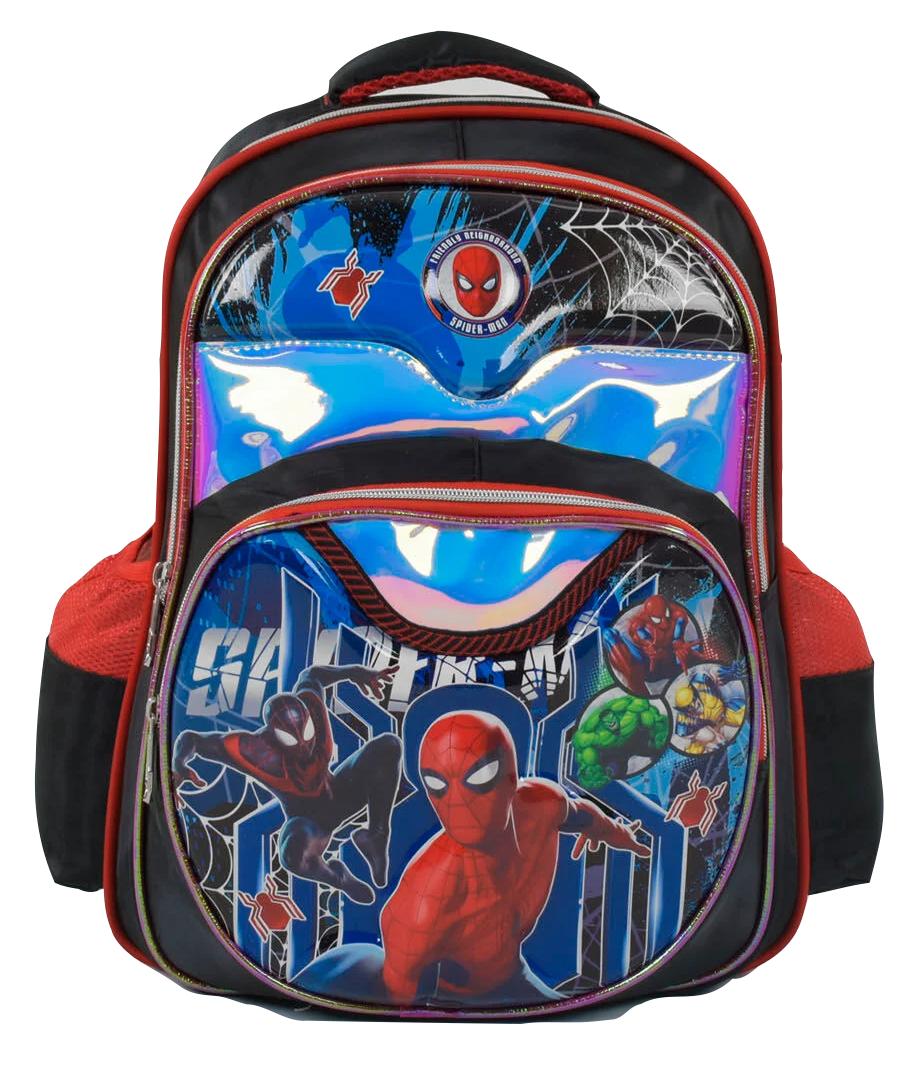 Рюкзак школьный Человек Паук 3D принт Черный с красными вставками