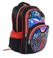 Рюкзак школьный Человек Паук 3D принт Черный с красными вставками, фото 3