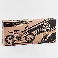 """Велосипед 14"""" дюймів 2-х колісний """"CORSO"""" MG-01025 (1) МАГНІЄВА РАМА, ЛИТІ ДИСКИ, ДИСКОВІ ГАЛЬМА, зібраний, фото 8"""