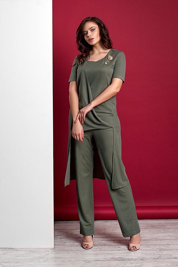 Стильный  женский трикотажный костюм с ассиметричной туникой и брюками  Style-nika ВИВАРИ 46