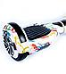 Гироборд Smart Balance 6,5 дюймів Графіті на білому самобаланс | гироскутер дитячий Смарт Баланс 6,5 LED фари, фото 7
