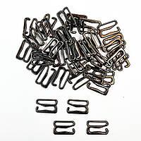 Крючок для бюстгальтера, бретелей, купальников, регуляторы 10мм металл. Блек никель (20 шт/уп).Фурнитура.