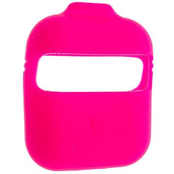 Силіконовий чохол Wuw з ремінцями для навушників AirPods/AirPods 2 Рожевий (Hot Pink)