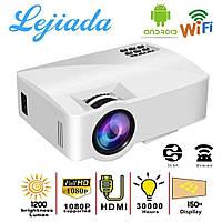 Портативний мультимедійний проектор для домашнього кінотеатру LED Projector A8 Android 6.0 WiFi Білий, фото 1