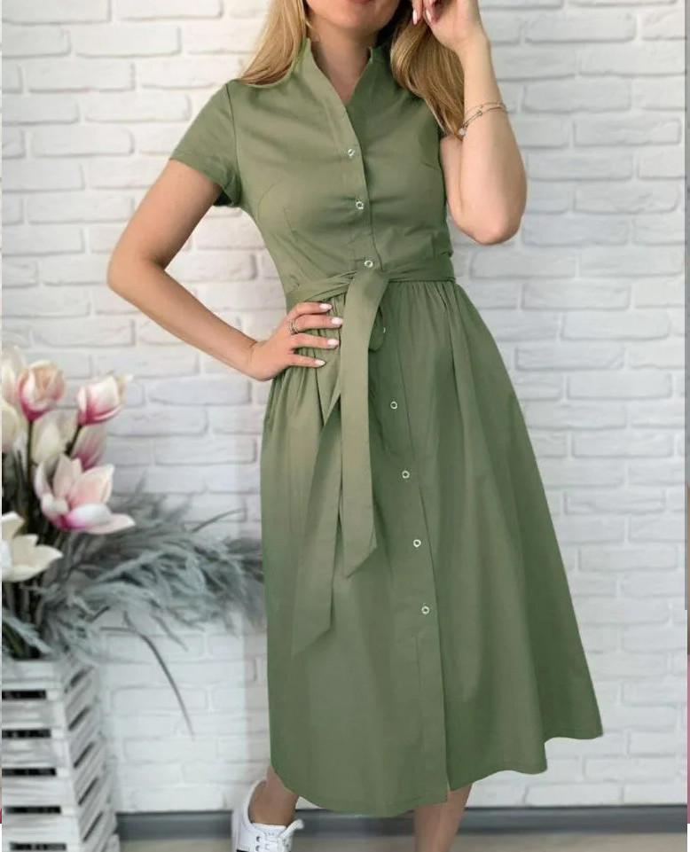 "Жіноче довге коттоновое сукню на гудзиках ""Lesley""  Норма"