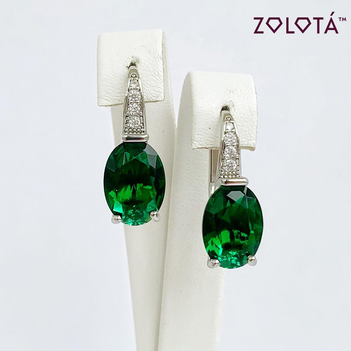Сережки Zolota, розмір 25х11 мм, зелені і білі фіаніти (куб. цирконій), вага 4 м, родій, ЗЛ01543 (1)