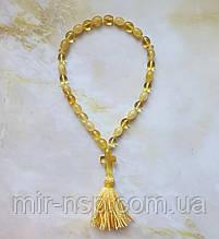 Четки православные с крестом 100% натуральный янтарь (не пресс, не плавка) 30 бусин олива 10*7 мм вес 10г
