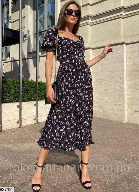 Неймовірна літня сукня міді чорна в дрібні квіточки