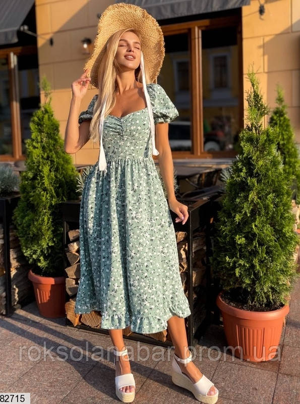 Изящное летнее платье миди мятное в мелкие цветочки