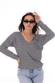 Женская полосатая тельняшка топ лонгслив тонкая кофта с длинным рукавом