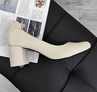 Кожаные женские туфли нюдового цвета, фото 1