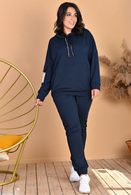 Женский спортивный костюм большие размеры синий SKL11-259288