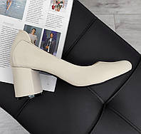 Шкіряні жіночі туфлі нюдового кольори в наявності, фото 1