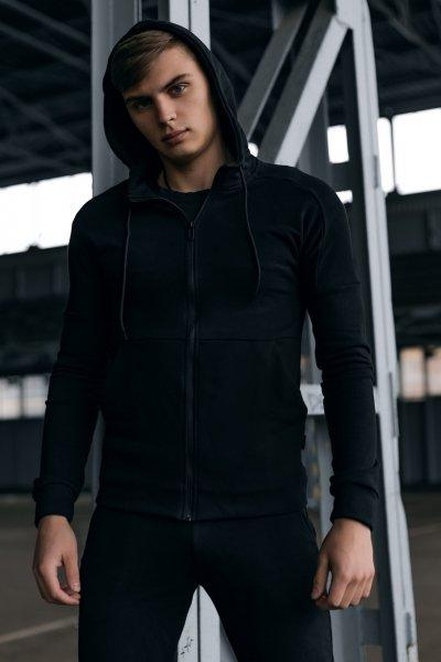 Кофта Чоловіча Cosmo чорна спортивна толстовка з капюшоном плюс Подарунок SKL59-261299