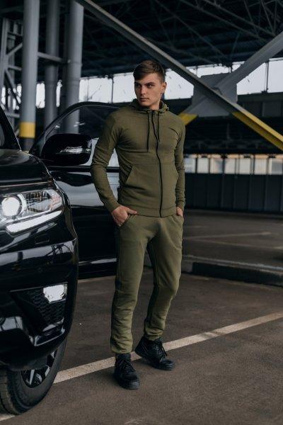 Костюм чоловічий спортивний Cosmo хакі Кофта толстовка і штани плюс Подарунок SKL59-261312