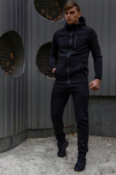 Спортивный костюм мужской черный утепленный флисоми и ключница в подарок SKL59-283358