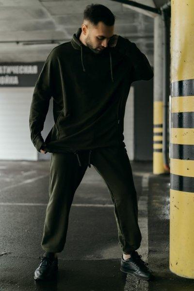 Костюм чоловічий спортивний весняно-осінній Oversize хакі Худі толстовка і штани SKL59-283425