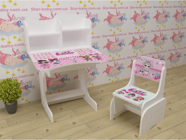 Детская парта-стол растишка со стульчиком высокая для девочки от 3-х лет 035 Лол белая