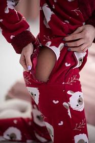 Женская пижама комбинезон с застежкой сзади Popojama размер S красного цвета SKL70-290331