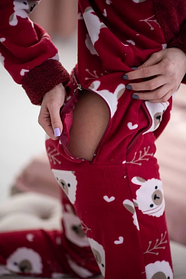 Женская пижама комбинезон с застежкой сзади Popojama размер L красного цвета SKL70-290339