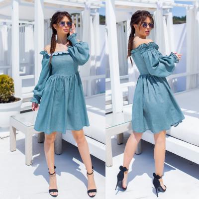 Платье женское коттоновое зеленое SKL11-290568