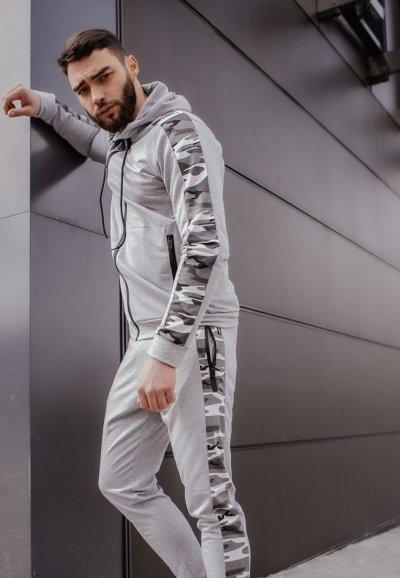 Костюм мужской спортивный серый камуфляж Кофта толстовка штаны SKL59-290686