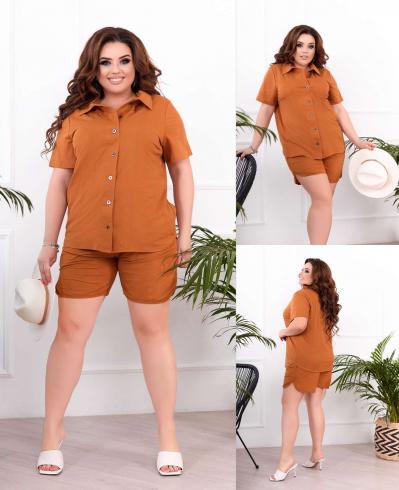 Жіночий костюм сорочка і шорти гірчичний SKL11-293810