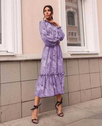 Платье с резинкой на горловине и на манжетах цвет лаванда батал SKL11-291929