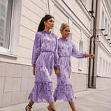 Платье с резинкой на горловине и на манжетах цвет лаванда батал SKL11-291929, фото 2
