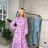 Платье с резинкой на горловине и на манжетах цвет лаванда батал SKL11-291929, фото 3