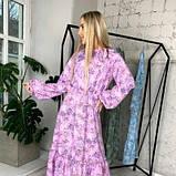 Платье с резинкой на горловине и на манжетах цвет лаванда батал SKL11-291929, фото 5