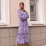 Платье с резинкой на горловине и на манжетах цвет лаванда батал SKL11-291929, фото 6