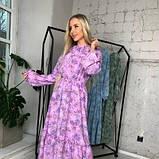 Платье с резинкой на горловине и на манжетах цвет лаванда батал SKL11-291929, фото 8