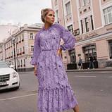 Платье с резинкой на горловине и на манжетах цвет лаванда батал SKL11-291929, фото 9