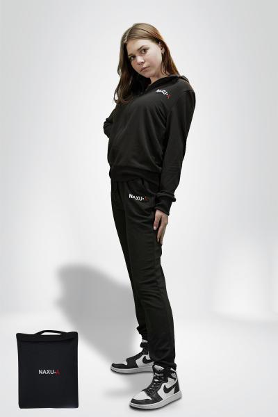 Жіночий спортивний костюм чорний NAXU-Y кофта на блискавці і штани SKL11-292294