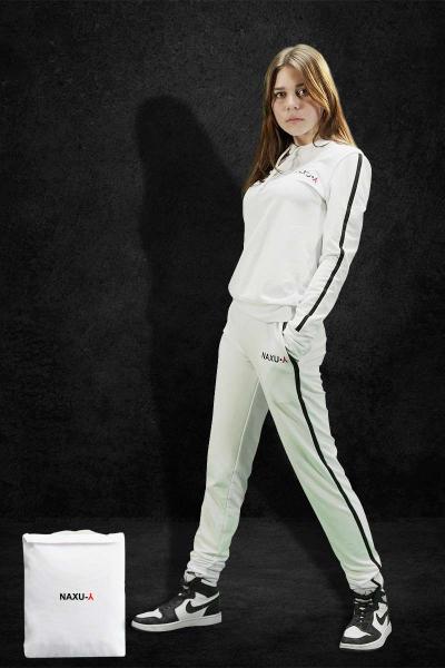 Женский спортивный костюм белый NAXU-Y худи и штаны с полоской SKL11-292297