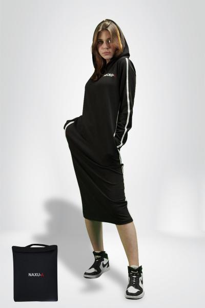 Женское спортивное платье черное с полоской NAXU-Y SKL11-292301