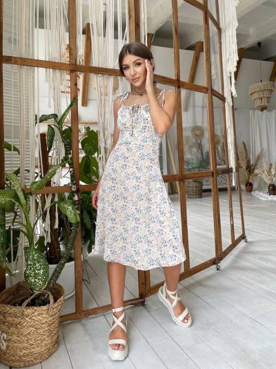 Жіноче бежеву сукню квітковий принт SKL76-293893