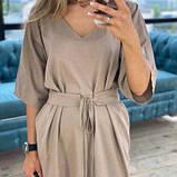Платье из льна миди мокко SKL76-293896, фото 5