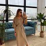 Платье из льна миди мокко SKL76-293896, фото 9