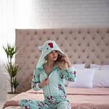 Жіноча піжама комбінезон із застібкою ззаду Popojama розмір XL бірюзового кольору SKL70-294602, фото 2
