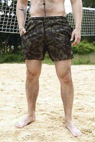 Шорты купальные мужские Breeze c принтом зеленый камуфляж пляжные зеленые с черным летние SKL59-294610