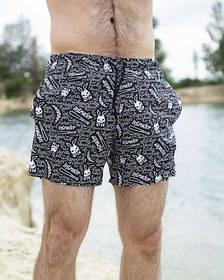 Шорты купальные мужские Breeze c принтом Bunny пляжные черные с белым летние SKL59-294611