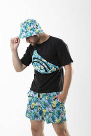 Костюм летний панама Спанч Боб двусторонняя бананка серый camouflage и шорты Breeze SKL59-297296