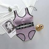 Комплект жіночої білизни топ і трусики бузковий SKL11-292581, фото 6