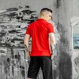 Чоловічий спортивний костюм літній червоно-чорний футболка поло і шорти трикотажні SKL59-292679, фото 2